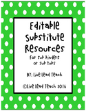Editable Substitue Resources