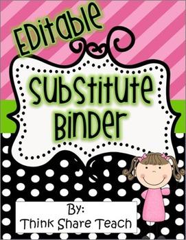 Editable Substitute Binder Black Dots