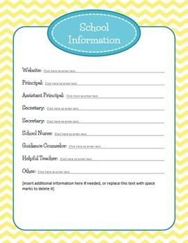 Editable Substitute Binder (Blue and Yellow Chevron)