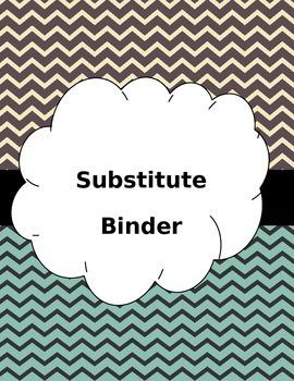 Editable Substitute Binder -Chevron Backgrounds