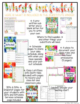 Editable Substitute Binder { Lilly Inspired } For Short and Long Term Subs