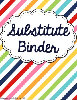 Editable Substitute Binder - Multi-Colored Stripe Design
