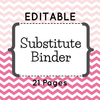 Editable Substitute Binder (Pink Chevron)