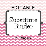 Editable Substitute Binder (Pink Chevron)