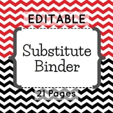 Editable Substitute Binder (Red and Black Chevron)