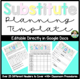 Editable Substitute Planning Template (Digital Google Docs Sub Plans)