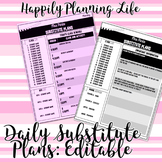 Editable Daily Substitute Plans Layout