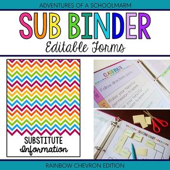 Editable Substitute Resource Binder - Rainbow Chevron (Includes Blackline)