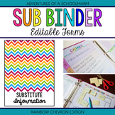Editable Substitute Resource Binder - Rainbow Chevron (Inc