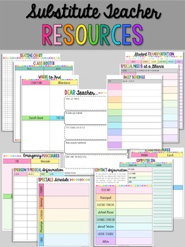 Editable Substitute Resource Binder Bright Rainbow Stripes (Includes Blackline)