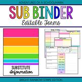 Editable Substitute Resource Binder Bright Rainbow Stripes