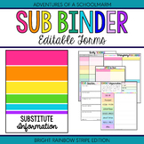 Editable Substitute Resource Binder Bright Rainbow Stripes