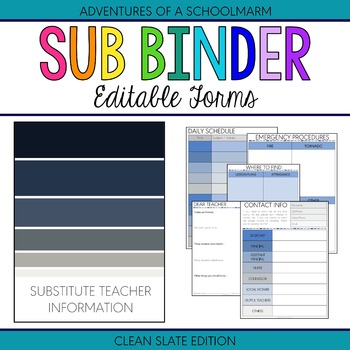 Editable Substitute Resource Binder - Blue and Grey Stripes (Includes Blackline)