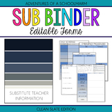 Editable Substitute Resource Binder - Blue and Grey Stripe