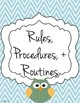 Customizable Substitute Resource Binder - Owl and Chevron Theme