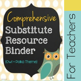 Customizable Substitute Resource Binder - Owl and Polka Dot Theme