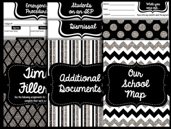 Substitute Teacher Binder: Black and White Theme - Editable