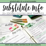 Editable Substitute Teacher Binder Mint Coral Watercolor Succulent (Google)