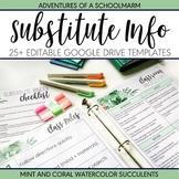Editable Substitute Teacher Binder Mint Coral Watercolor S