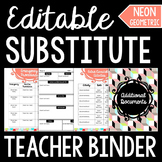 Editable Substitute Teacher Binder: Neon Aztec Theme