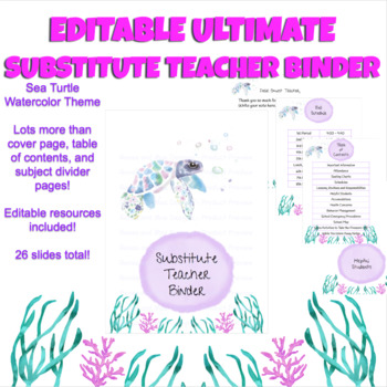 Editable Substitute Teacher Binder - Sea Turtle Watercolor Theme