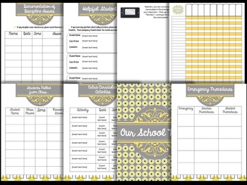 Substitute Teacher Binder: Yellow and Gray Theme - Editable