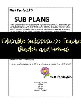 Editable Substitute Teacher Binder and Forms