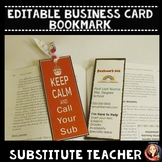 Editable Substitute Teacher Business Card Contact Bookmark