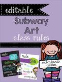 Editable Subway Art Classroom Rules {Melonheadz}