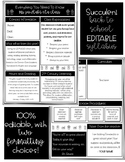 Editable Succulent Back to School Syllabus