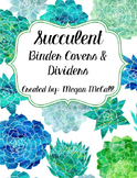 Editable Succulent Binder Covers and Dividers (Blue and Green)