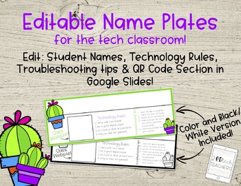 Editable Cactus Name Plates - Technology Edition!