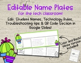 Editable Cactus Name Plates - Technology Edition!