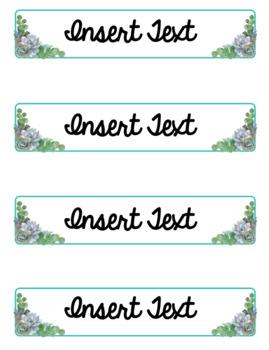 Editable Succulent Classroom Labels (Includes Scrapbook Case Sizes!)