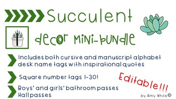 Editable Succulent / Cactus Decor *Growth Mindset* Mini Growing Bundle
