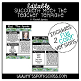 Editable Succulent Meet the Teacher Template