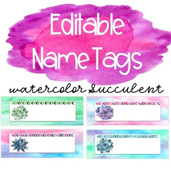 Editable Succulent Name Tags