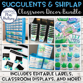 Editable Succulent and Shiplap Classroom Decor Bundle