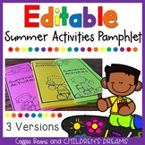 Editable Summer Activities Pamphlet