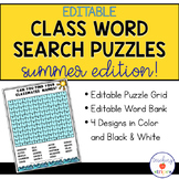 Editable Summer Class Word Search Puzzle Templates