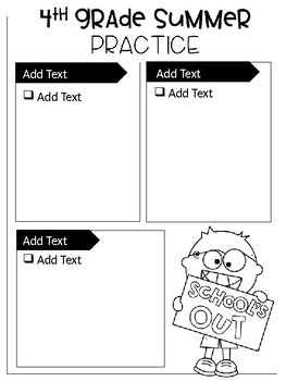 Editable Summer Grade Level One Page Activity Guide
