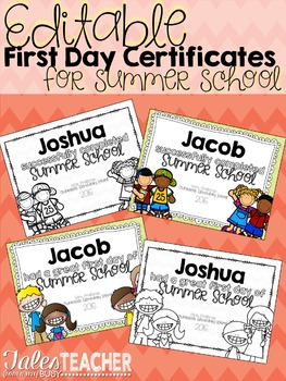 Editable Summer School Certificates {First and Last Day}
