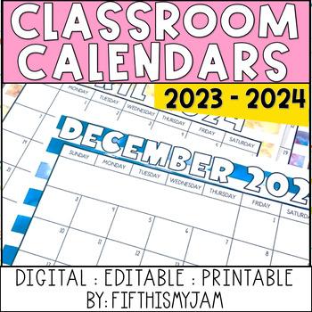 Editable Summer Stripes Master Calendars