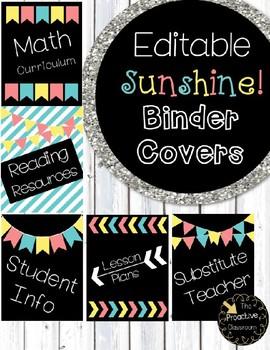 Editable Sunshine Binder Covers--5 Designs!!