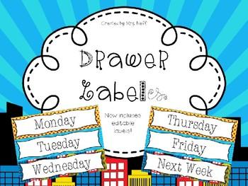 Editable Super Hero/Comic Drawer Labels - File, Copy, Grade, Days of Week