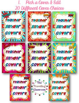 Editable Super Hero Teacher Binder Covers