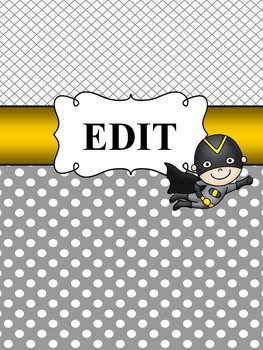 Editable Super Hero Themed Notebook Covers