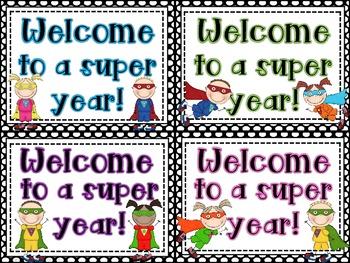 Editable Super Hero Welcome Back to School Post Cards *Freebie*