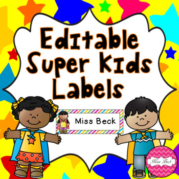 Editable Super Kids Labels