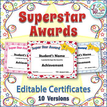 editable awards and editable certificates by just wonderful designs